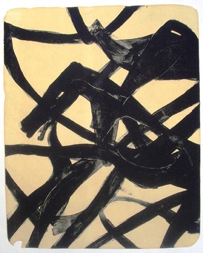 Melnie zirgi 2005, papīrs/litogrāfija, 86x68