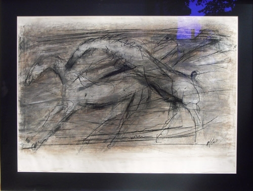 Trīs zirgi 2007, papīrs/krīts, ogle, 60x83