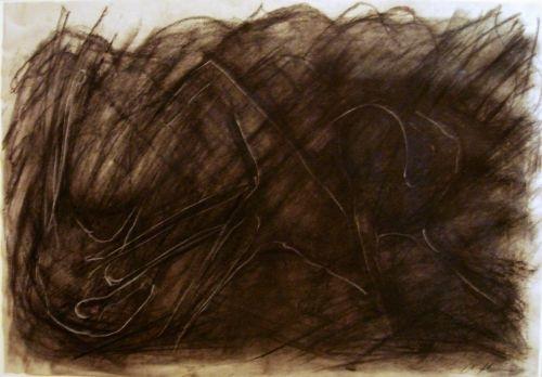 Melnais skrējiens 2007, papīrs/ogle, krīts, 60x83