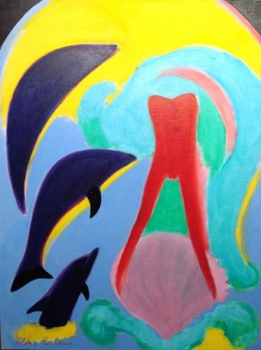 Trīs delfīni 2008, audekls/eļļa, 146x114