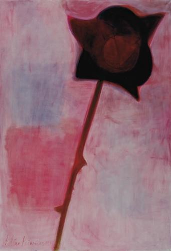 Roze ar kātu I 2007, audekls/eļļa, 210x145