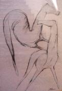Divi zirgi I 2006, papīrs/ogle, 80x55