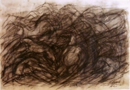 Running III 2007, charcoal on paper, 60x83