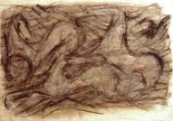 Trīs zirgi 2007, papīrs/ogle, sangina, tempera, 60x83