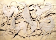 White Horses 2007, Indian ink, tempera on paper, 60x83
