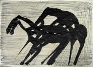 Zirga kods 2007, papīrs/tušas spalva, 60x83