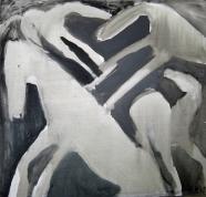 Četri zirgi 1995, audekls/eļļa, 130x140