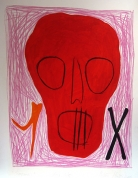 Sarkanais 2001, papīrs/litogrāfija, 66x49