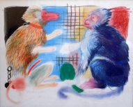 In the Cage 2009, colour pencils on paper, 50x61