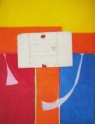 Krucifiks un dokuments 1995, papīrs/ akvarelis, kolāža, 80x63